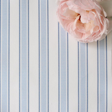 Regatta Stripe cotton linen fabric pale blue
