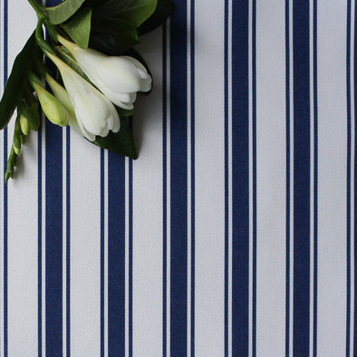 Regatta Stripe cotton linen fabric Navy blue