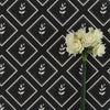 Graphite dark grey little leaf pattern cotton linen fabric