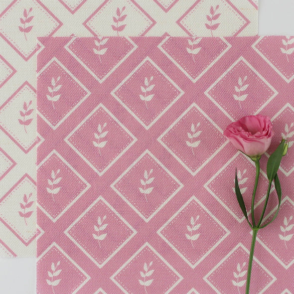 Tickled pink little leaf pattern cotton linen fabric