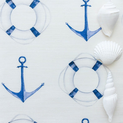 Sail Away anchor life buoy nautical fabric