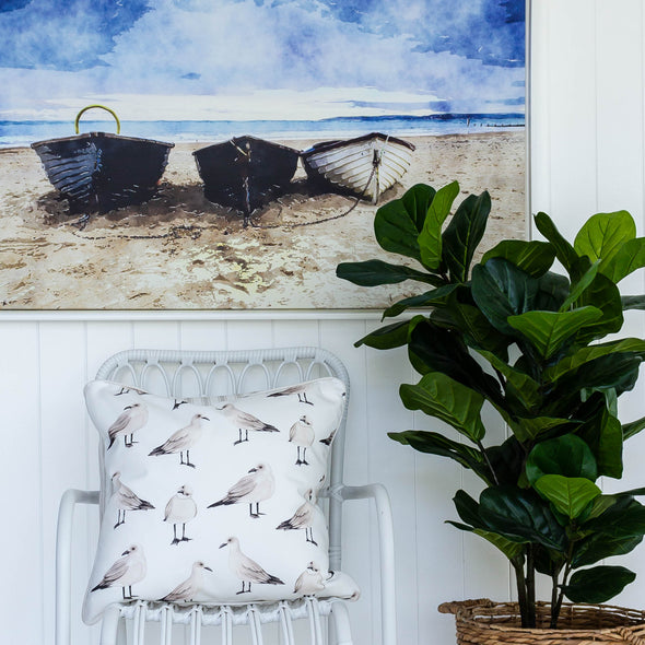 Coastal style seagull cushion