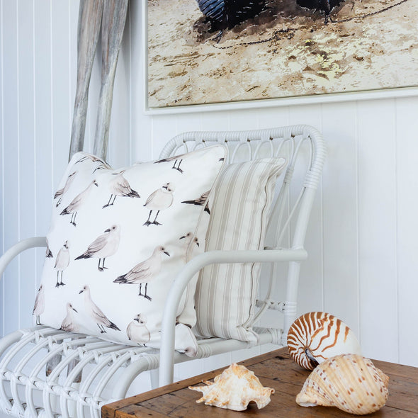 Seagull and stripe cushion neutral colours
