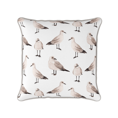 Classic coastal cushion watercolour seagulls