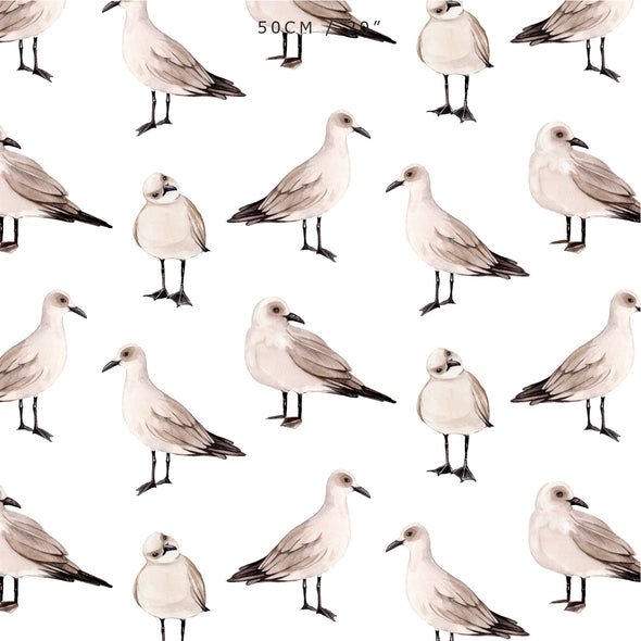 Seagull coastal design fabric watercolour