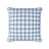 Coastal blue gingham check piped cushion