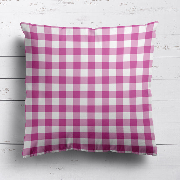 gingham check cotton linen fabric Raspberry pink