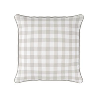 country gingham check neutral piped cushion