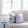 blue gingham check cushions French sofa