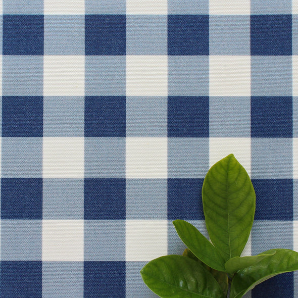 gingham check cotton linen fabric navy blue