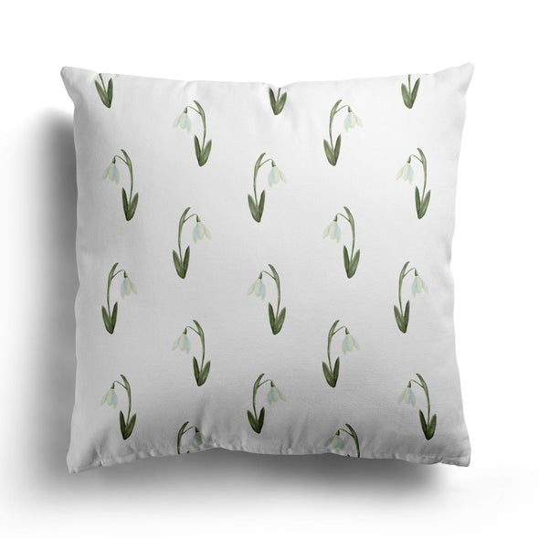 Snow drops linen cushion
