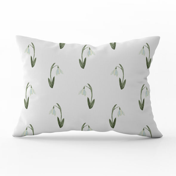 snow drops watercolour cushion