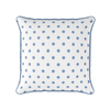 breeze blue spot piped cushion