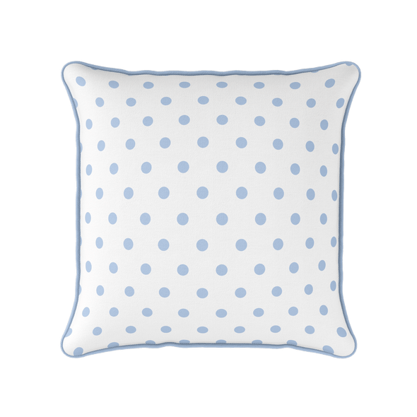 cornflower blue spot piped cushion