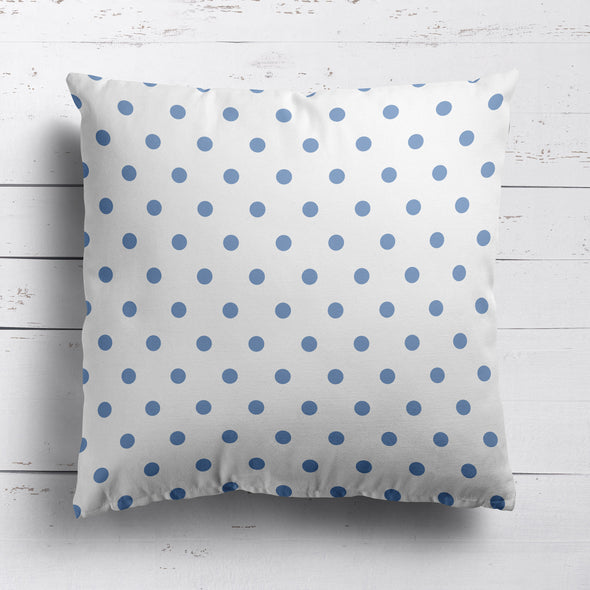Spot Dot cotton linen cushion in Breeze blue