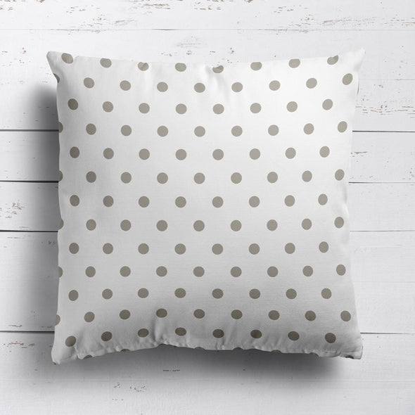 Spot Dot cotton linen cushion in Chateaux beige