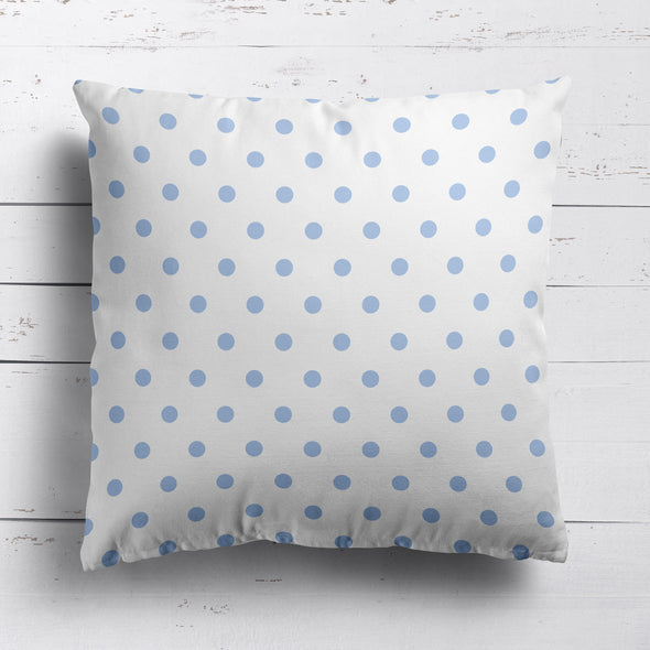Spot Dot cotton linen cushion in Cornflower blue