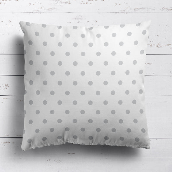 Spot Dot cotton linen cushion in Dove grey