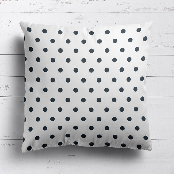 Spot Dot cotton linen cushion in Graphite grey