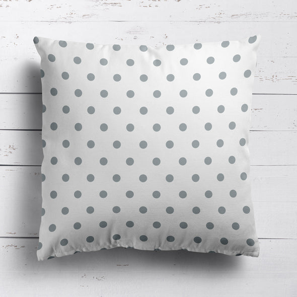 Spot Dot cotton linen cushion in Koala grey
