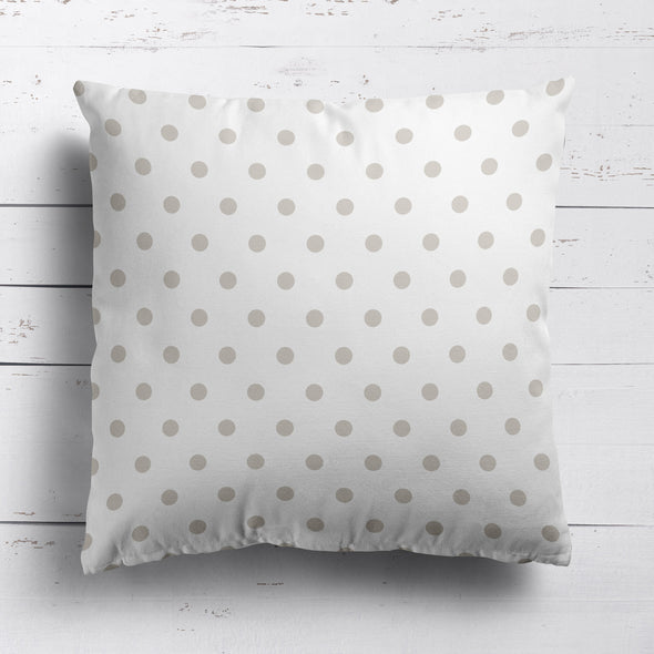 Spot Dot cotton linen cushion in neutral beige