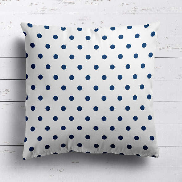 Spot Dot cotton linen cushion in Navy blue