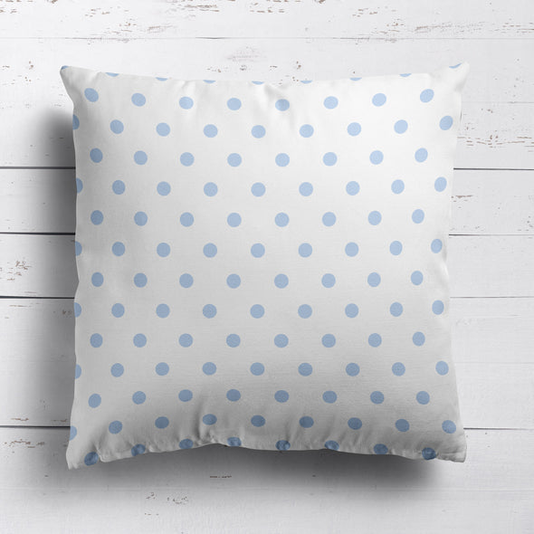 Spot Dot cotton linen cushion in Serenity blue