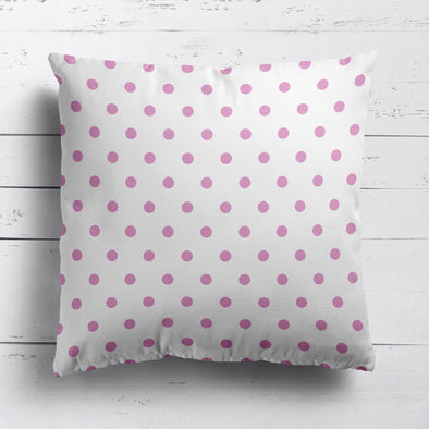 Spot Dot cotton linen cushion in Tickled pink
