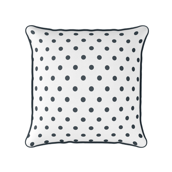 charcoal grey spot piped cushion