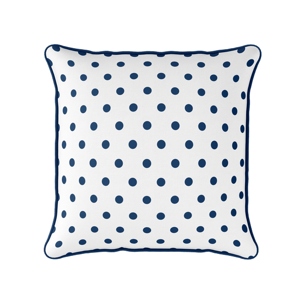 navy blue spot piped cushion