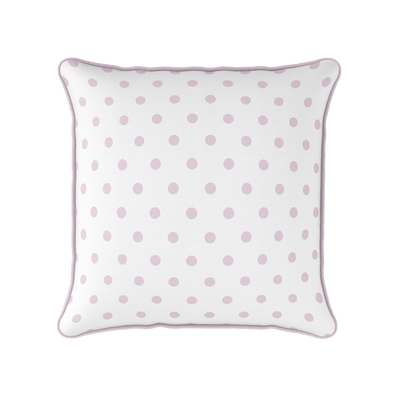 Peony pink spot piped cushion