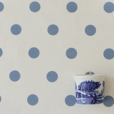 Spot fabric Dot cotton linen fabric in Breeze blue