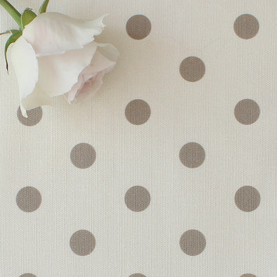 Spot Dot cotton linen fabric in Chateaux beige