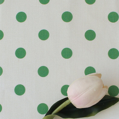 Spot Dot cotton linen fabric in Emerald green