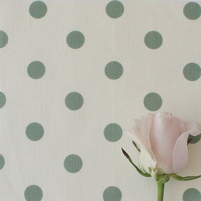 Spot Dot cotton linen fabric in Eucalyptus green