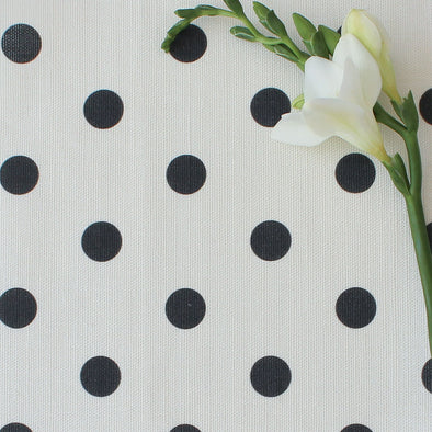 Spot Dot cotton linen fabric in Graphite grey