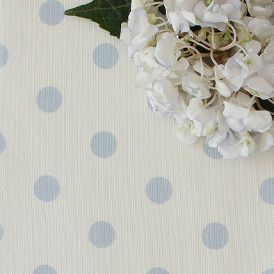 Spot Dot cotton linen fabric in Serenity blue