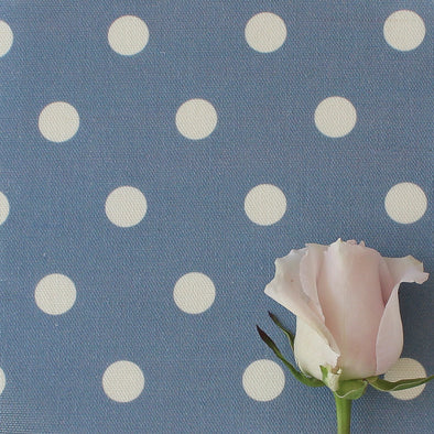 Spot Dot cotton linen fabric in Breeze blue