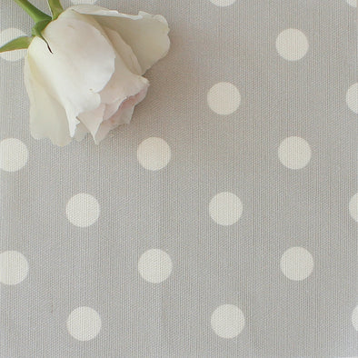 Spot Dot cotton linen fabric in Dove grey