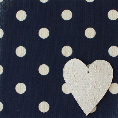 Spot Dot cotton linen fabric in Navy blue