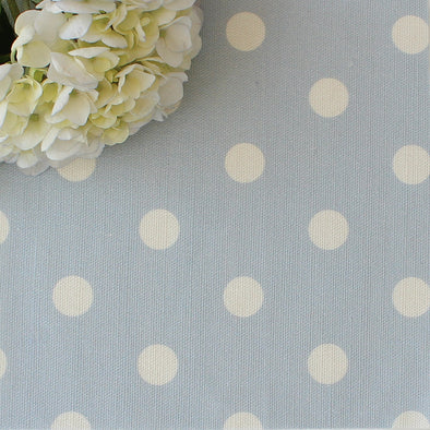 Spot Dot cotton linen fabric in Serenity pale blue