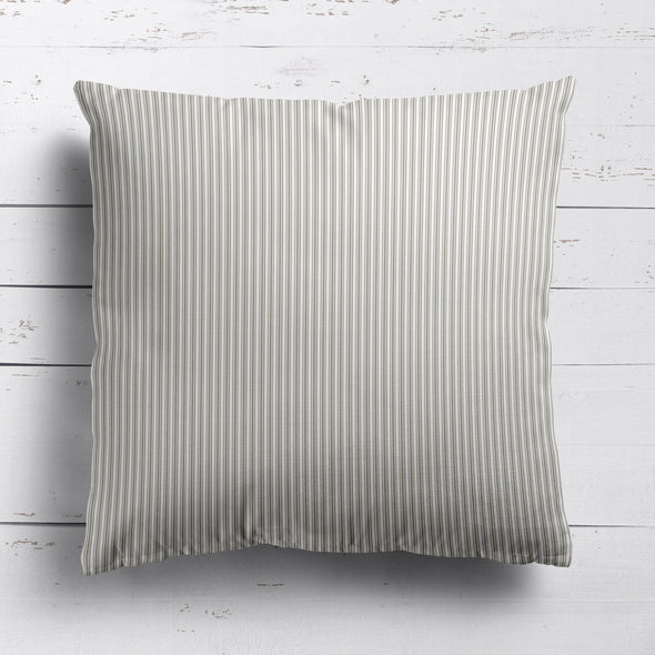 Ticking Stripe cotton linen cushion in Chateaux beige
