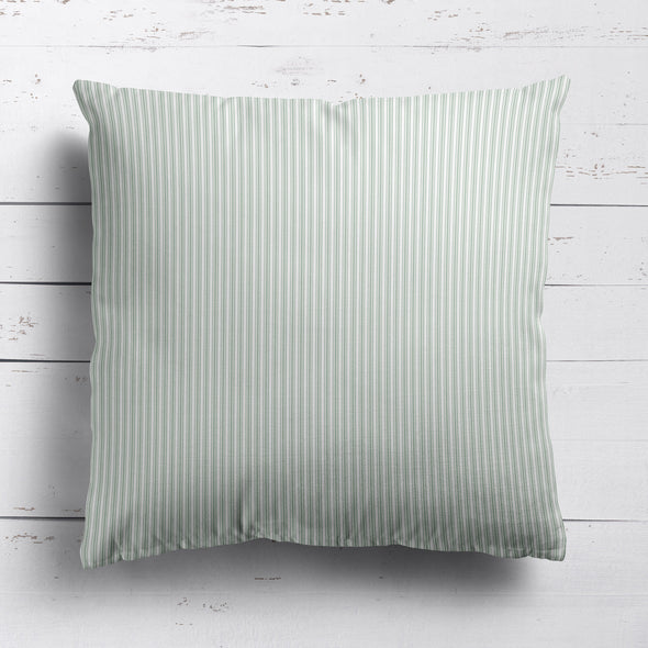 Ticking Stripe cotton linen cushion in Eau de Nil green