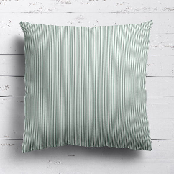 Ticking Stripe cotton linen cushion in Eucalyptus green