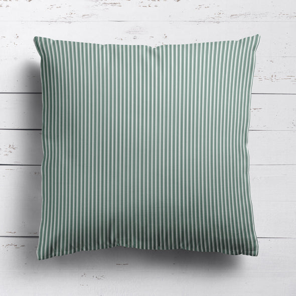 Ticking Stripe cotton linen cushion in Leaf green