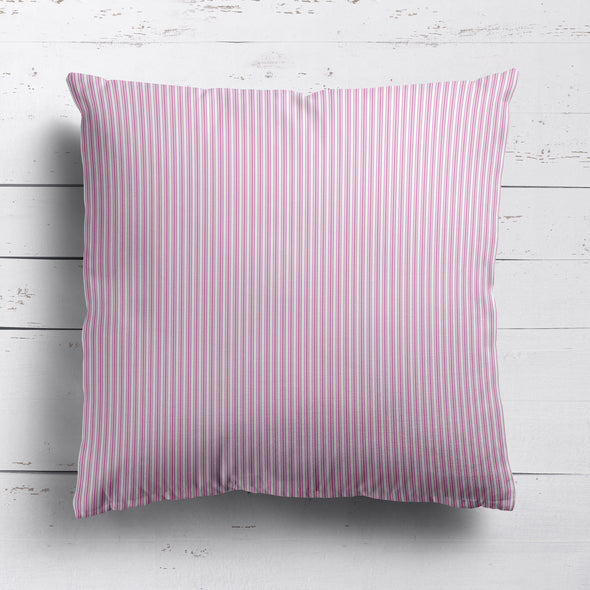 Ticking Stripe cotton linen cushion in Tickled pink