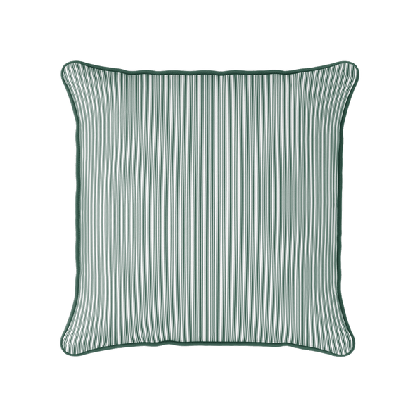Ticking Stripe cotton linen cushion in dark leaf green