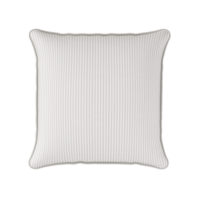 Ticking Stripe cotton linen cushion in neutral beige