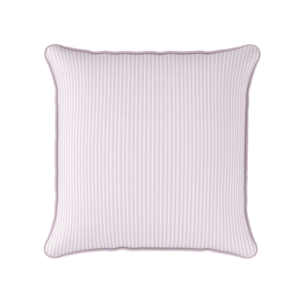 Ticking Stripe cotton linen cushion in Peony pink