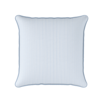 Ticking Stripe cotton linen cushion in Serenity blue